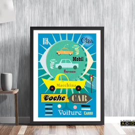 'WORLD OF CARS' retro mid century car auto vettura vehicle motoring travel continental international European poster gallery art print - 'Unframed'
