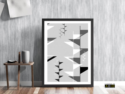 FESTIVAL OF BRITAIN' retro mid century UK vintage arts festival geometric monochrome shapes flags gallery art print - 'Unframed'