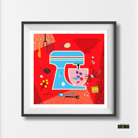 'RETRO KITCHEN MIXER!' mid century square Scandinavian Retro kitchen cookery cookbook food gift wall art print illustration by Hedvig Desh collection - 'Unframed'