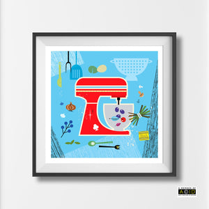 Mid century Scandinavian Retro kitchen Mixer print by Hedvig Desh collection - 'Unframed'