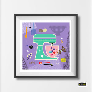 Scandinavian Kitchen mixer print retro purple green kitchen cookery cookbook food gift wall art print illustration by Hedvig Desh collection - 'Unframed'