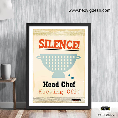 'HEAD CHEF KICKING OFF!' cook's memes retro Scandinavian cookery meme cookbook food poster print illustration by Hedvig Desh collection - 'Unframed'