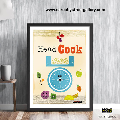 Retro kitchen 'HEAD COOK!' mid century scales measure Scandinavian cookery cookbook food wall art print illustration by Hedvig Desh collection - 'Unframed'
