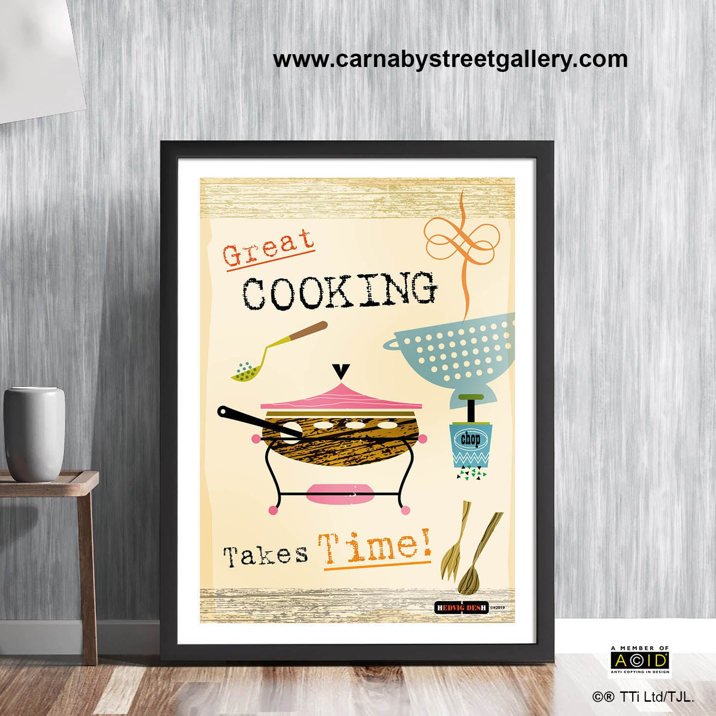 'GREAT COOKING TAKES TIME!' cook's memes retro Scandinavian cookery meme cookbook food poster print illustration by Hedvig Desh collection - 'Unframed'