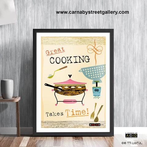 Retro Scandinavian cookery cookbook food art print by Hedvig Desh collection - 'Unframed'