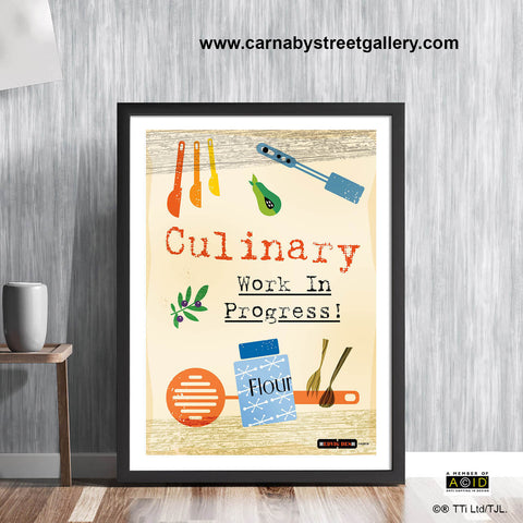 'CULINARY WORK IN PROGRESS!' cook's memes retro Scandinavian mum baking bakeoff cookery meme cookbook food poster print illustration by Hedvig Desh collection - 'Unframed'