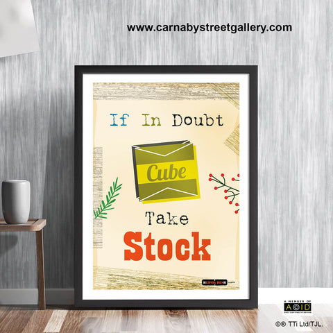 'IF IN DOUBT, TAKE STOCK!' cook's chef kitchen meme retro Scandinavian stock cube seasoning vintage cookbook food poster print illustration by Hedvig Desh collection - 'Unframed'