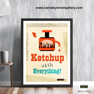 Retro Red Sauce Ketchup Scandinavian kitchen cafe print illustration by Hedvig Desh collection - 'Unframed'