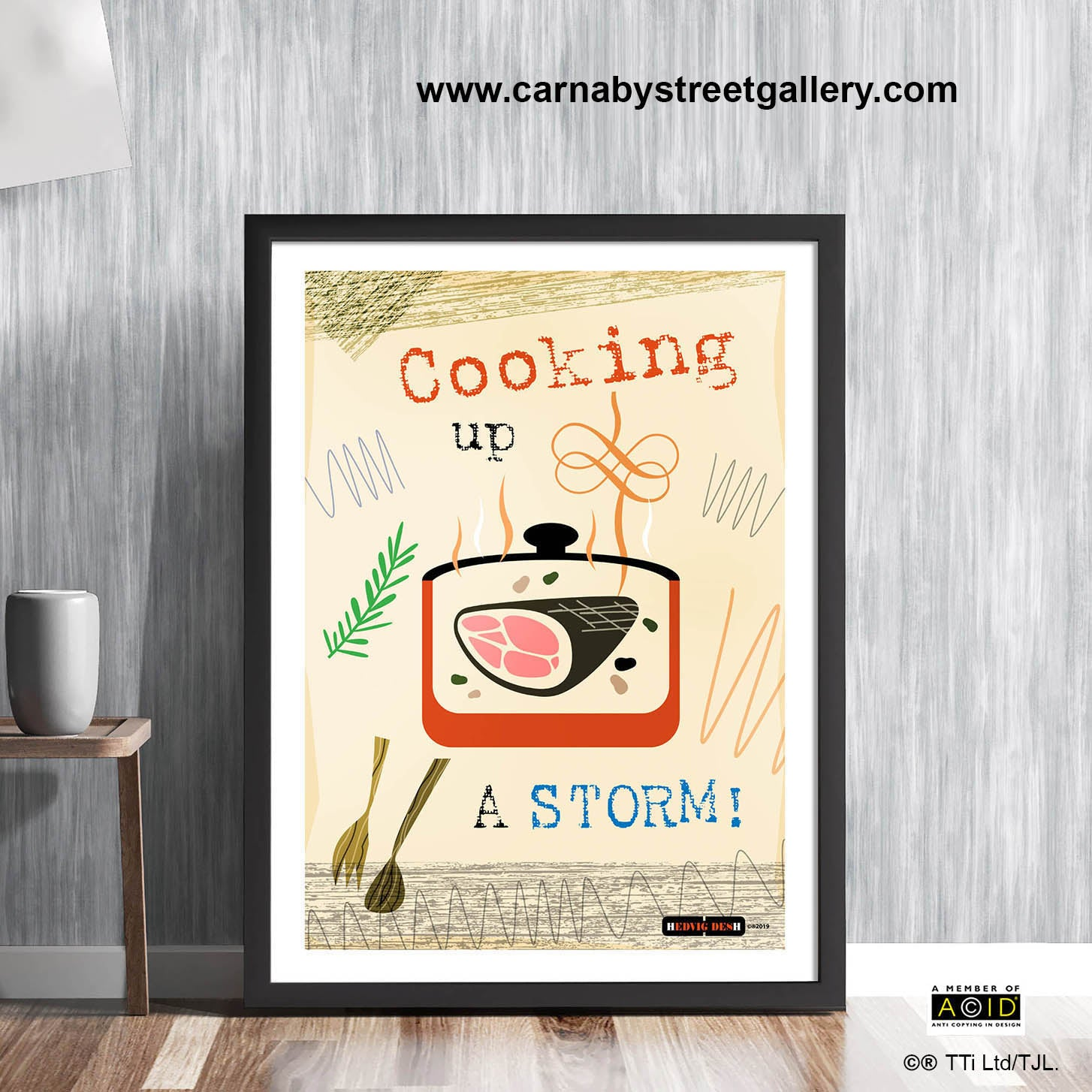 'COOKING UP A STORM!' retro mid century kitchen cook's meme Scandinavian cookery cookbook food wall art print illustration by Hedvig Desh collection - 'Unframed'