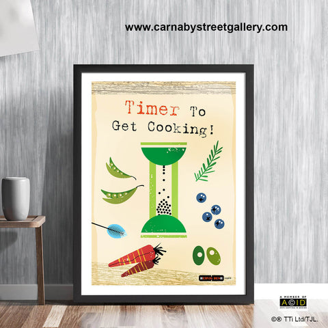 Scandinavian Kitchen 'TIMER TO GET COOKING!' retro mid century cookery cookbook food wall art print illustration by Hedvig Desh collection - 'Unframed'