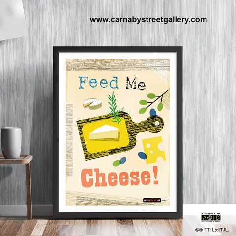 Mid century Scandinavian 'Feed Me Cheese!' Retro kitchen cookery cookbook cheeseboard food cheese lover gift wall art print illustration by Hedvig Desh collection - 'Unframed'