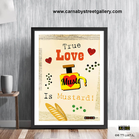 'TRUE LOVE IS MUSTARD!' retro Scandinavian Kitchen mid century cookery cookbook food wall art print illustration by Hedvig Desh collection - 'Unframed'