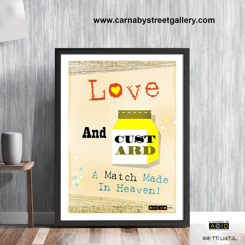 'LOVE AND CUSTARD!' mid century Scandinavian Retro kitchen cookery cookbook food vanilla gift wall art print illustration by Hedvig Desh collection - 'Unframed'