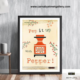 Mid century Scandinavian 'PEP IT UP WITH PEPPER!' Retro kitchen cookery cookbook food pepper mill gift wall art print illustration by Hedvig Desh collection - 'Unframed'