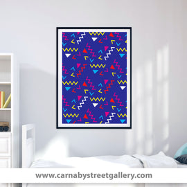 BACK TO THE EIGHTIES! -  retro eighties style graphic art pattern bright zigzag shapes triangles new romantics art illustration design gallery art print - 'Unframed'