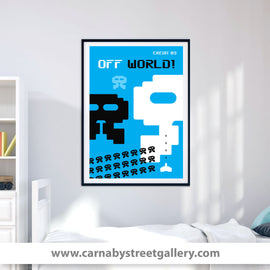 'OFF WORLD' retro Space Invaders Eighties poster design gallery art print - 'Unframed'