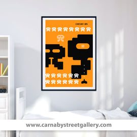 'Up close and personal' retro Space Invaders Japanese style Eighties gaming video game alien poster design gallery art print - 'Unframed'
