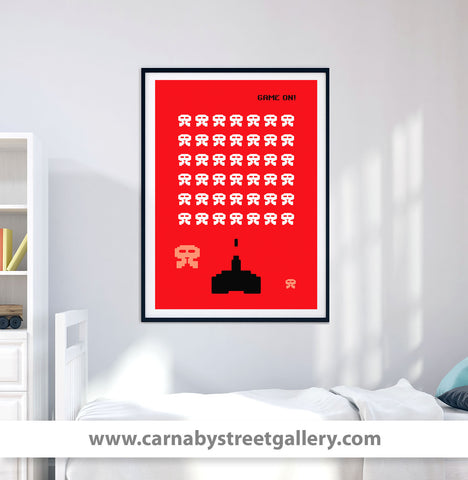 'GAME ON' - unmissable! Retro Space Invaders gamer classic arcade video gaming sci-fi poster design gallery art print - 'Unframed'