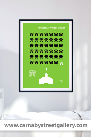'Hasta La Vista, Baby!' classic Space Invaders meets Arnie retro arcade video game gaming gamer style character red gallery art print - 'Unframed'