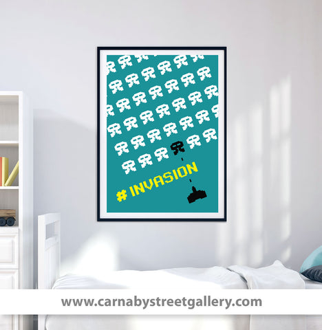 INVASION retro Space Invaders arcade archival graphic art print in green unframed