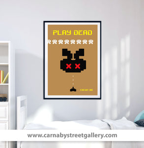 Space invaders arcade game character wall art print in gold