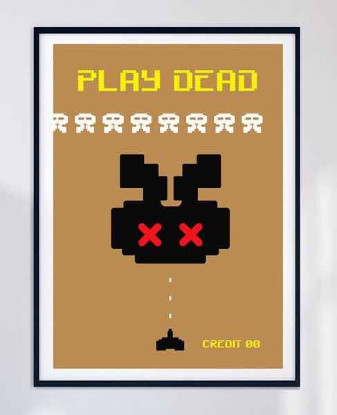 Play Dead - Space Invaders arcade game archival graphic art print - unframed.