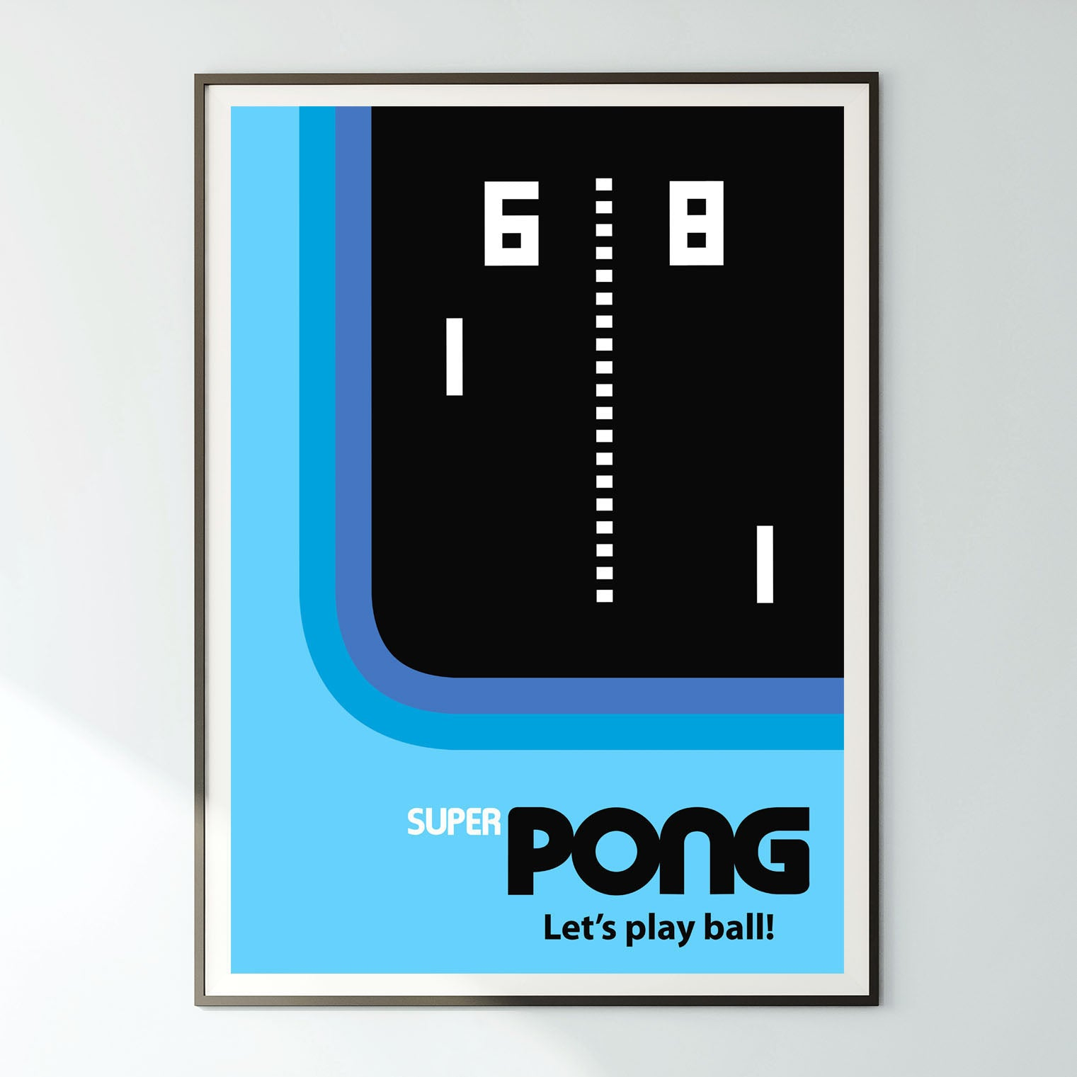 'SUPER PONG! - Let's play ball! retro tennis ping pong blue cyan sports arcade video game gaming gamer graphic art gallery print - 'Unframed'
