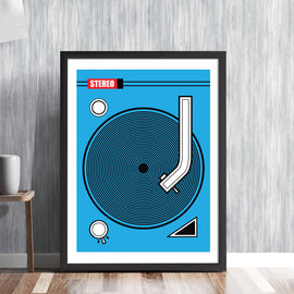 RECORD DECK -  retro vinyl rewind line art music industry publishing recording DJ clubbing club Ibiza sound system tunes player analogue vintage graphic art illustration design gallery art print - 'Unframed'