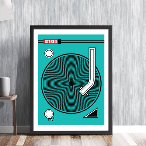 RECORD DECK -  retro vinyl rewind old school illustration by Hedvig Desh - graphic art print - 'Unframed'