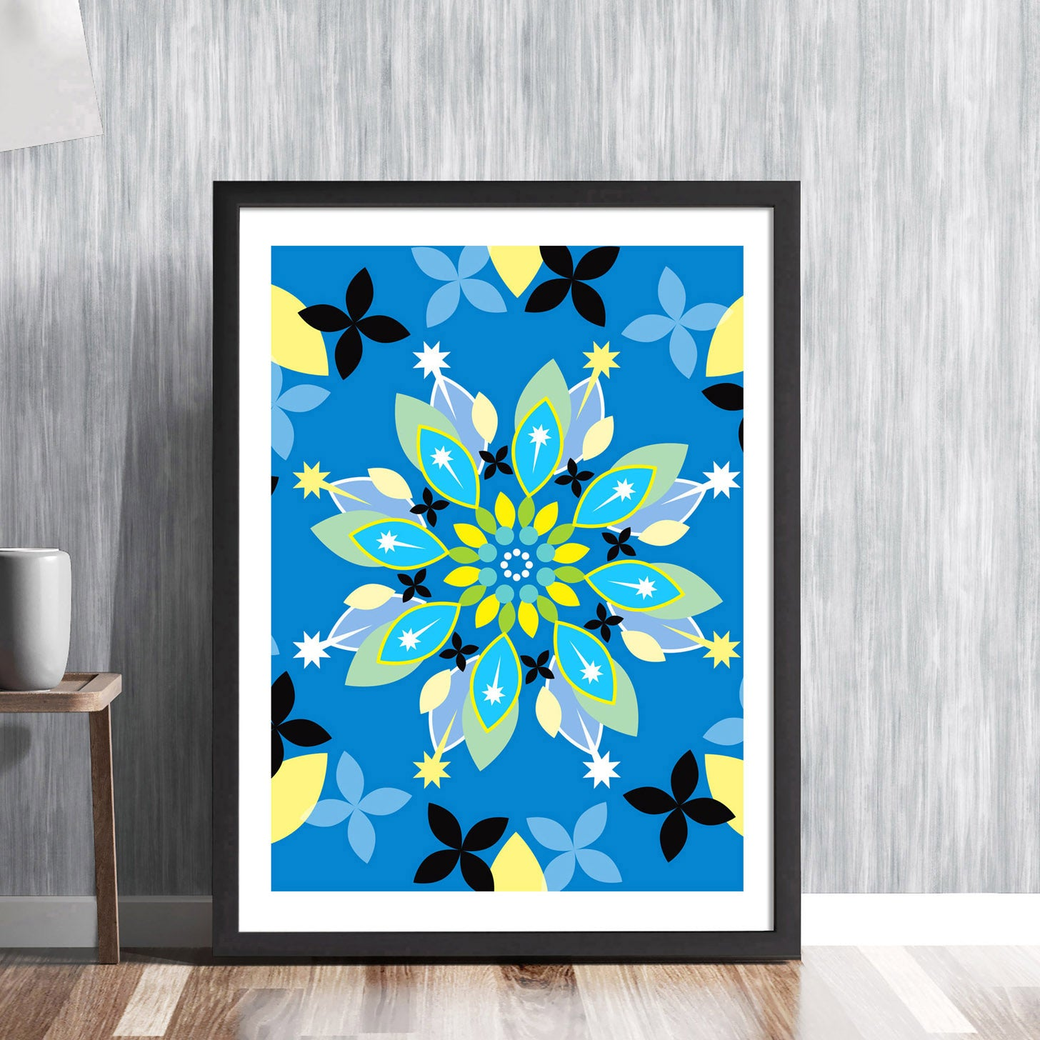 Floral pattern design - intricate traditional vintage folk style in modern botanical graphic gallery art print - 'Unframed'