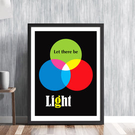 Let there be light - retro white light composition diagram mid century science photographic fifties sixties art illustration design gallery art print - 'Unframed'