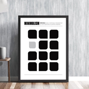 MINIMALISM! -  art movement definition and wall print combined with monochrome shapes design fine art illustration design gallery art print - 'Unframed'