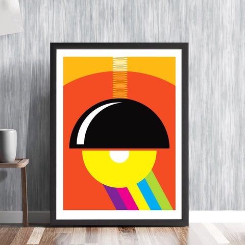 Bauhaus Lamp - colourful bold graphic art lighting shade poster design with rainbow gallery art print - 'Unframed'