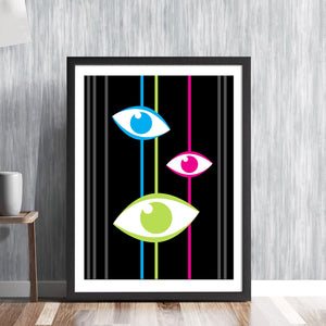 EYES ON STALKS! - retro mid century Surrealism Surrealist optical eyesight eyetest opthalmic optician body cyclops art illustration design gallery print - 'Unframed'