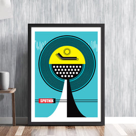 SPUTNIK - retro stereo record player futuristic music centre vinyl deck console space age line art illustration design gallery art print - 'Unframed'