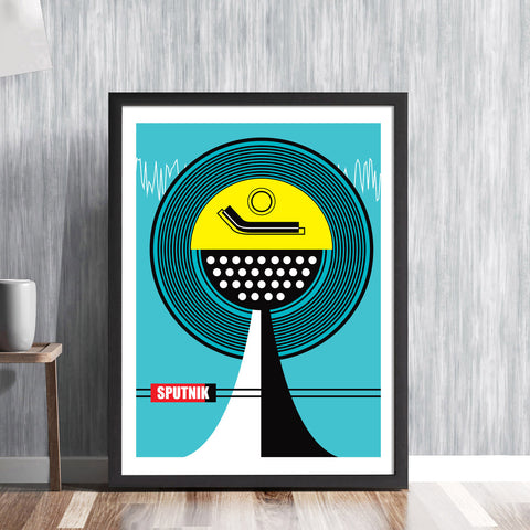 SPUTNIK - retro stereo record player by Hedvig Desh - graphic art print - 'Unframed'