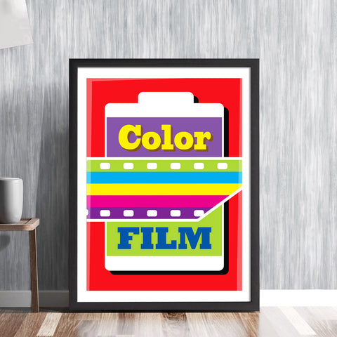 Color Film print lab sign - mid century 35mm reel photographic retail sign photography camera graphic gallery art print - 'Unframed'