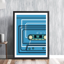 CASSETTE TAPE -  retro audio music recording blue sound system tunes player analogue vintage graphic art illustration design gallery art print - 'Unframed'