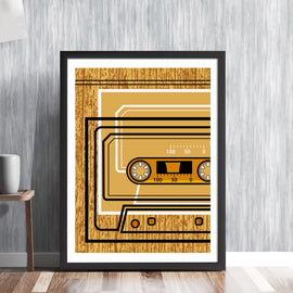 CASSETTE TAPE -  retro audio music recording sound system tunes player analogue vintage graphic art illustration design gallery art print - 'Unframed'