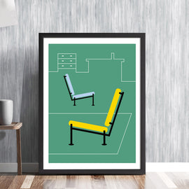 Recliners in green -  mid century retro furniture chairs seating interior furnishing art illustration design gallery art print - 'Unframed'