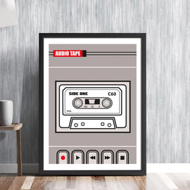 AUDIO TAPE RECORDER -  retro cassette music recording sound system tunes player analogue vintage graphic art illustration design gallery art print - 'Unframed'