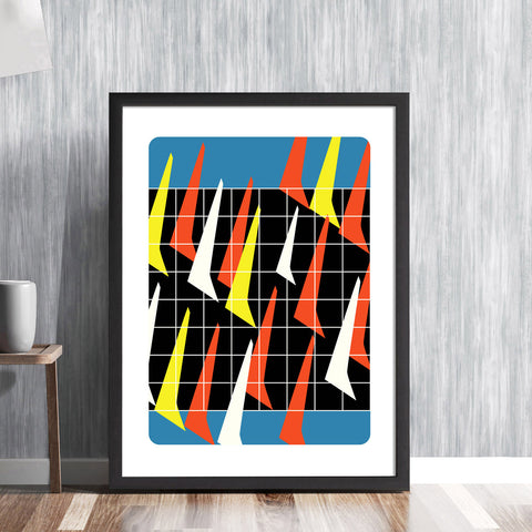 La Regatta! -  Mid century yachting sailing boats sails nautical race abstract graphic art illustration design gallery art print - 'Unframed'