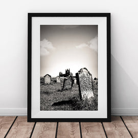 Whitby Abbey with the Graveyard in front vintage gothic Architecture gallery art print - 'Unframed'
