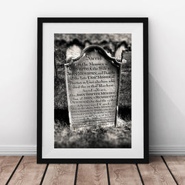 Whitby Abbey Graveyard Headstone vintage gothic Architecture gallery art print - 'Unframed'