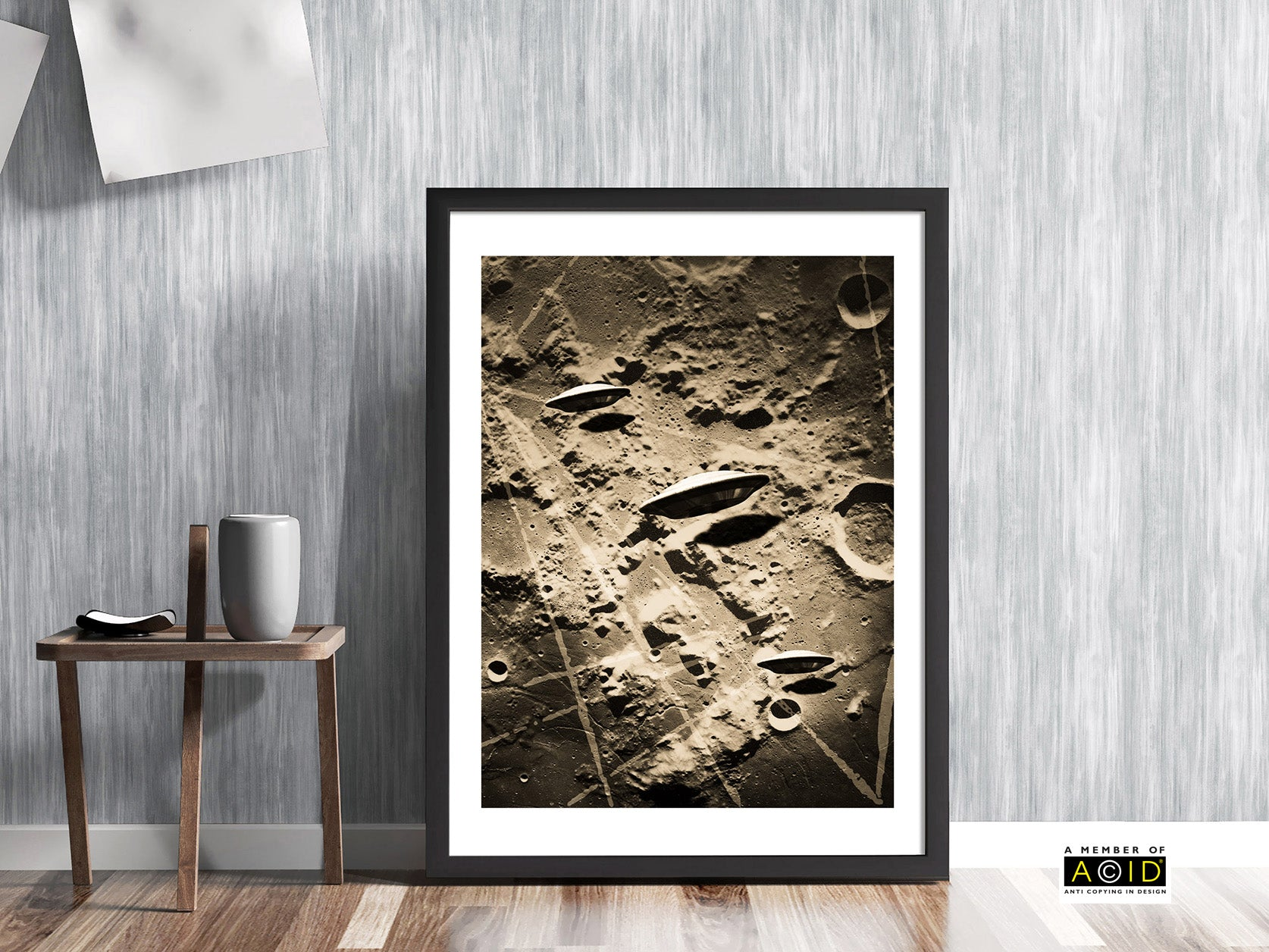 'DARK SIDE OF THE MOON' monochrome sepia UFO lunar flying saucer space solar system travel planets alien moon base extraterrestrials grays we are not alone gallery art print - 'Unframed'