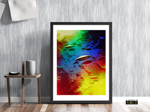 'DARK SIDE OF THE MOON' UFO lunar flying saucer space solar system travel planets alien moon base extraterrestrials grays we are not alone gallery art print - 'Unframed'