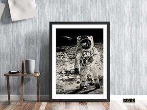 'WE ARE NOT ALONE' Buzz Aldrin Lunar landing UFO flying saucer NASA Apollo Moon space mission Astronaut 1969 Star solar system travel planets astronomy gallery art print - 'Unframed'
