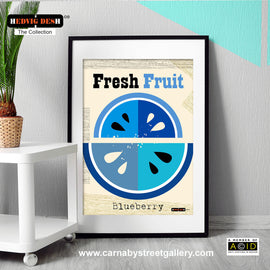 'FRESH FRUIT' Blueberry fruit Hedvig Desh collection retro mid century Scandinavian kitchen Nordic illustration gallery art print - 'Unframed'
