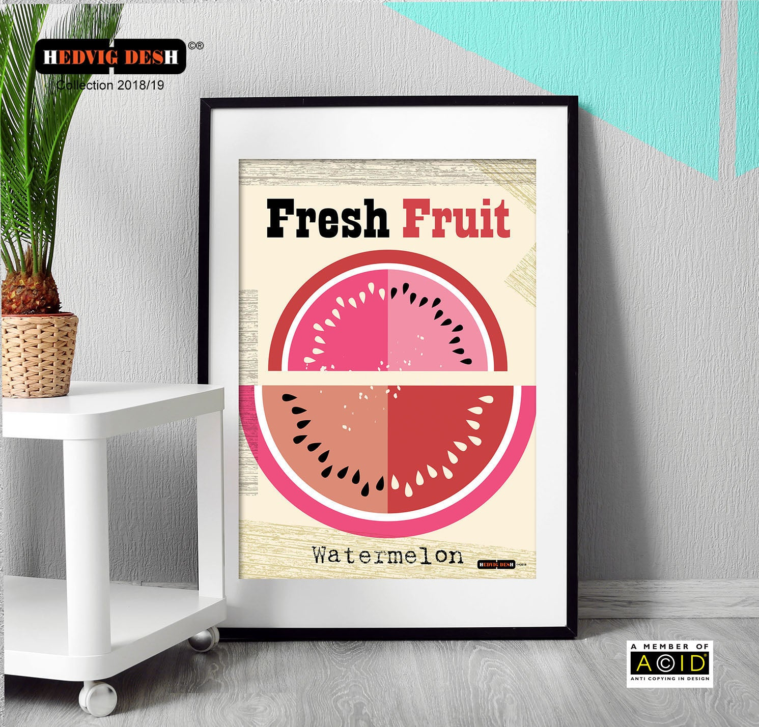 'WATERMELON' Fresh fruit melon juicy Hedvig Desh collection retro mid century Scandinavian kitchen Nordic illustration gallery art print - 'Unframed'