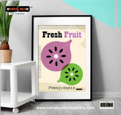 'POMEGRANATE FRESH FRUIT' Hedvig Desh collection retro mid century Scandinavian kitchen Nordic illustration gallery art print - 'Unframed'